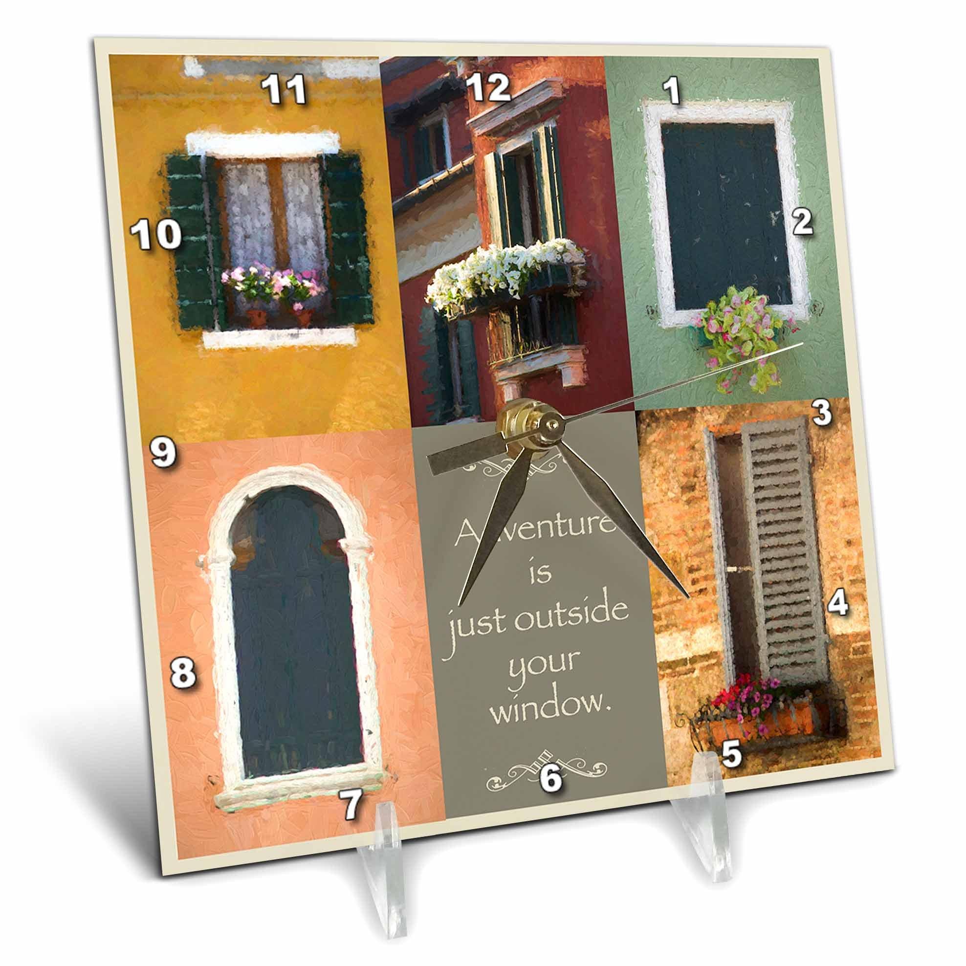 3dRose Susan Kjellsen Photography - Windows - Antique windows - 6x6 Desk Clock (dc_280229_1)