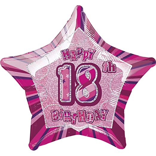 Unique Party Happy 18th Birthday Pink Star Foil Balloon One Size