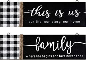 2 Pieces This is Us Rustic Print Wood Sign Rustic Family Wooden Wall Decor Farmhouse Buffalo Plaid Wall Sign for Bedroom Living Room Office Home Wall Outdoor Decor