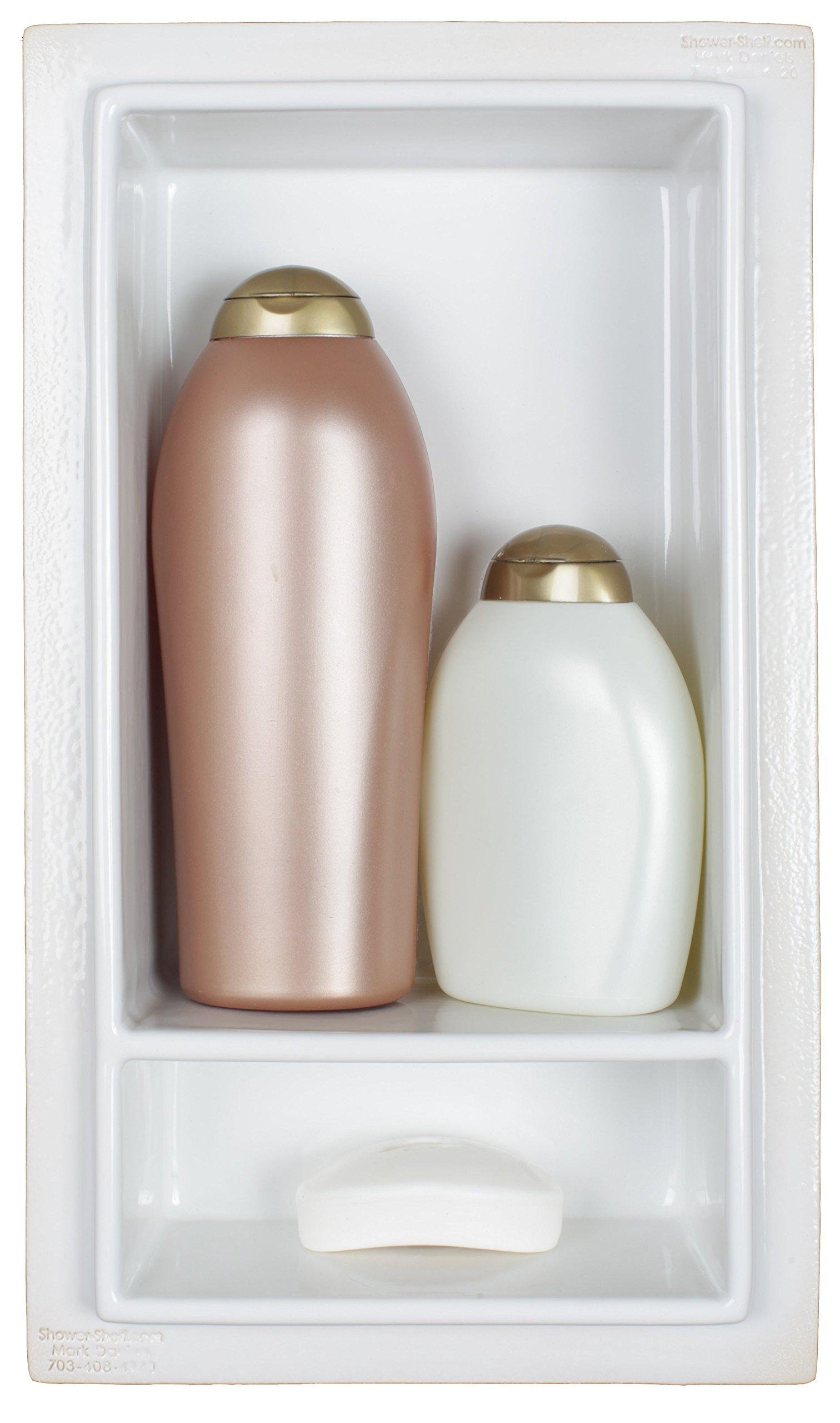 CleanLine Tile Large 2 Compartment Recessed Shower Shelf Niche Shampoo