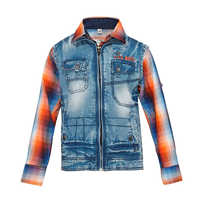 2e991f768 Oks Boys Blue   Orange Solid Cotton Blend Jacket   Shirt for Boys ...
