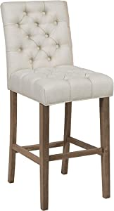 Coaster Home Furnishings Tufted Cushion Bar Stools Oatmeal and Oak (Set of 2), Bar Height Stool