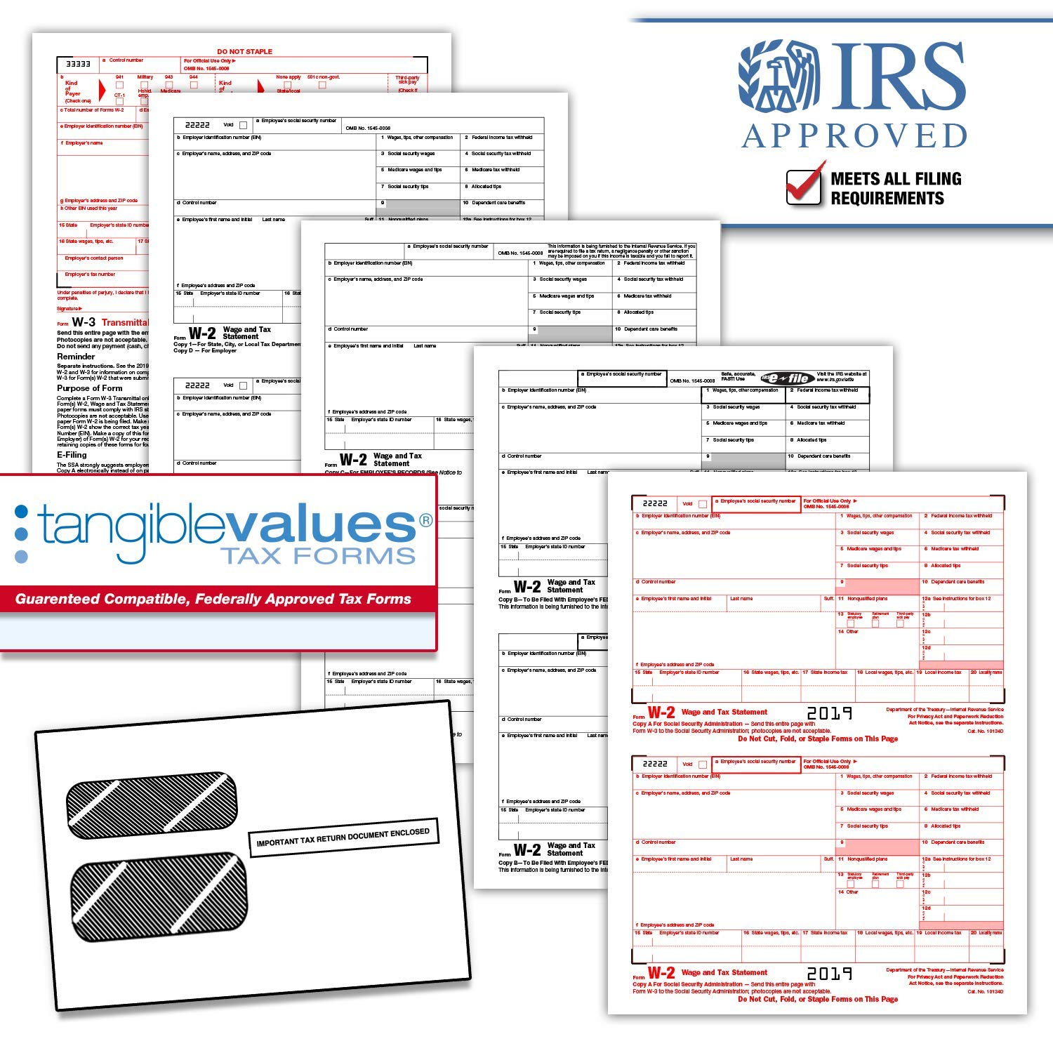 Tangible Values W-2 Laser Forms (4-Part) Kit with Envelopes for 50 Employees (2019) by Tangible Values Business Solutions