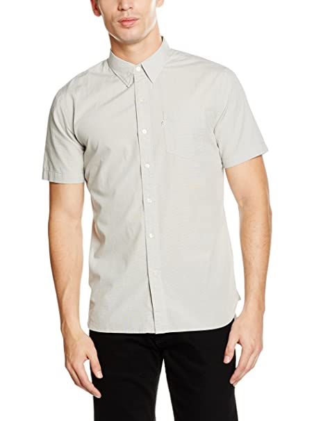 a0cfbf52f5d1 Levi s Mens Sunset Pocket Shirt in Cream-Short Sleeve-Pocket to  Chest-Supima