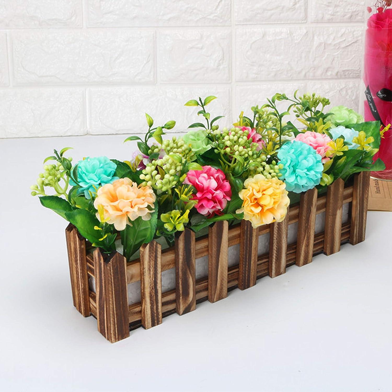 Flikool Artificiale Piante in Vasetto Artificial Potted Plant Artificiali Fiore con Recinto Crisantemo Chrysanthemum Faux Erba Verde Falso Bonsai Decorazione Ornamenti 10 Rose 17cm 10