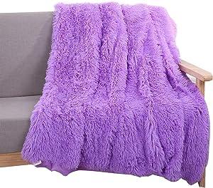 YOU SA Super Soft Long Shaggy Fuzzy Fur Faux Fur Warm Elegant Cozy with Fluffy Sherpa Throw Blanket 63''79'',Purple