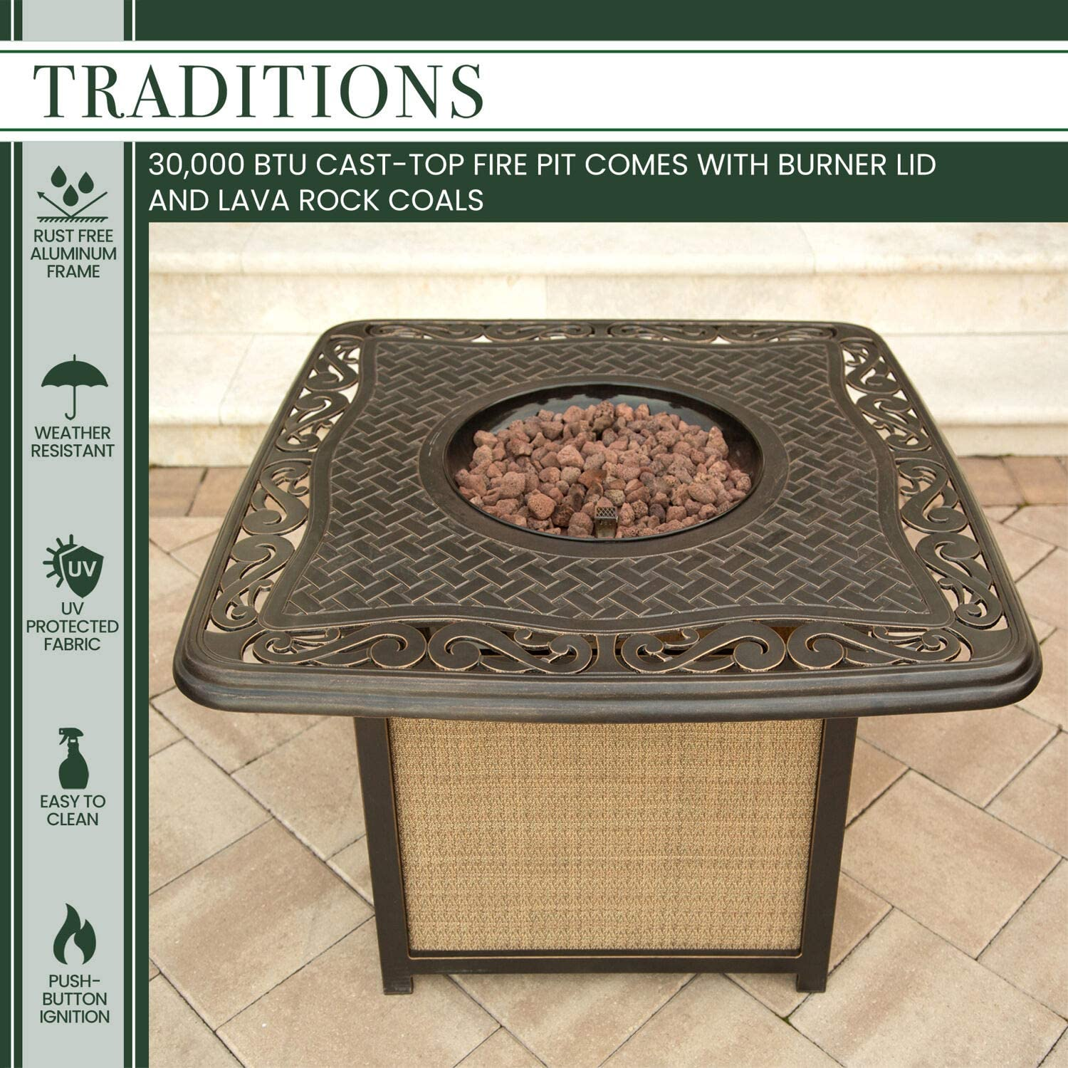 Natural Oat//Antique Bronze Hanover 4-Piece Traditions Outdoor Cast Top Fire Pit Lounge Set