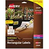 Avery Removable Durable Rectangular Labels, White, 1.25 x 1.75 Inches, Pack of 256 (22828)