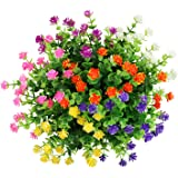 LUCKY SNAIL 6 Pcs Artificial Fake Flowers, Lifelike Plastic Flowers for Indoor Outside Hanging Planter UV Resistant Home Offi