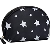HOYOFO Small Shell Cosmetic Bag Travel Half Moon Makeup Bags Zipper Handy Organizer Pouch with Pockets,Black Flamingos