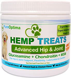 PureOptima Hip & Joint Supplement for Dogs – Glucosamine for Dogs, Organic Turmeric & Hemp, Chondroitin, MSM - Arthritis Pain Relief, Improve Mobility, Joint Support -120 Soft Chews - Made in USA