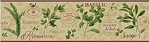 York Wallcoverings KITCHEN & BATH AROMATIQUE BORDER tan, red, light taupe, green, golden glow