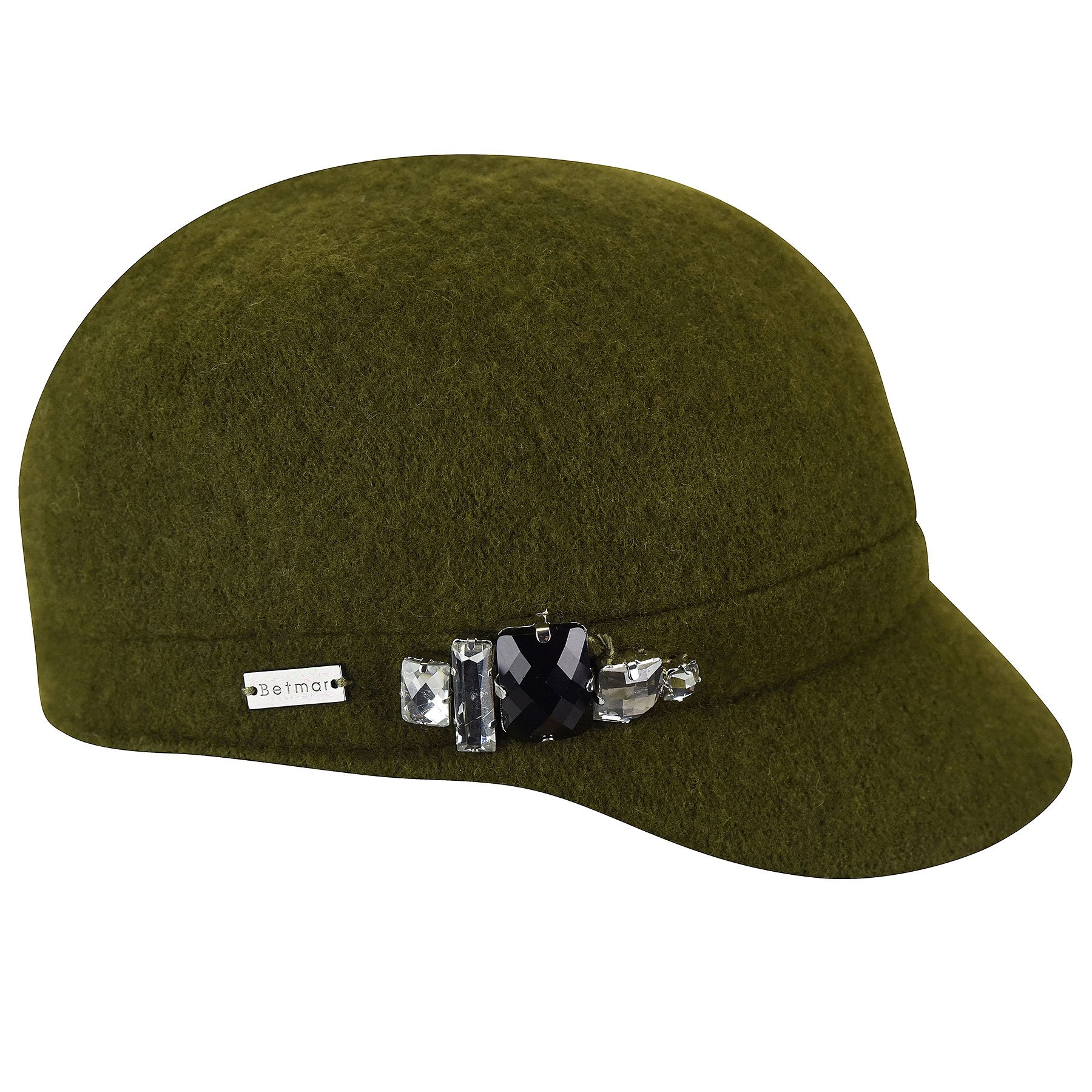 Betmar Women's Rhinstone Cap Wool with Sparkling Trim, Olive, One Size