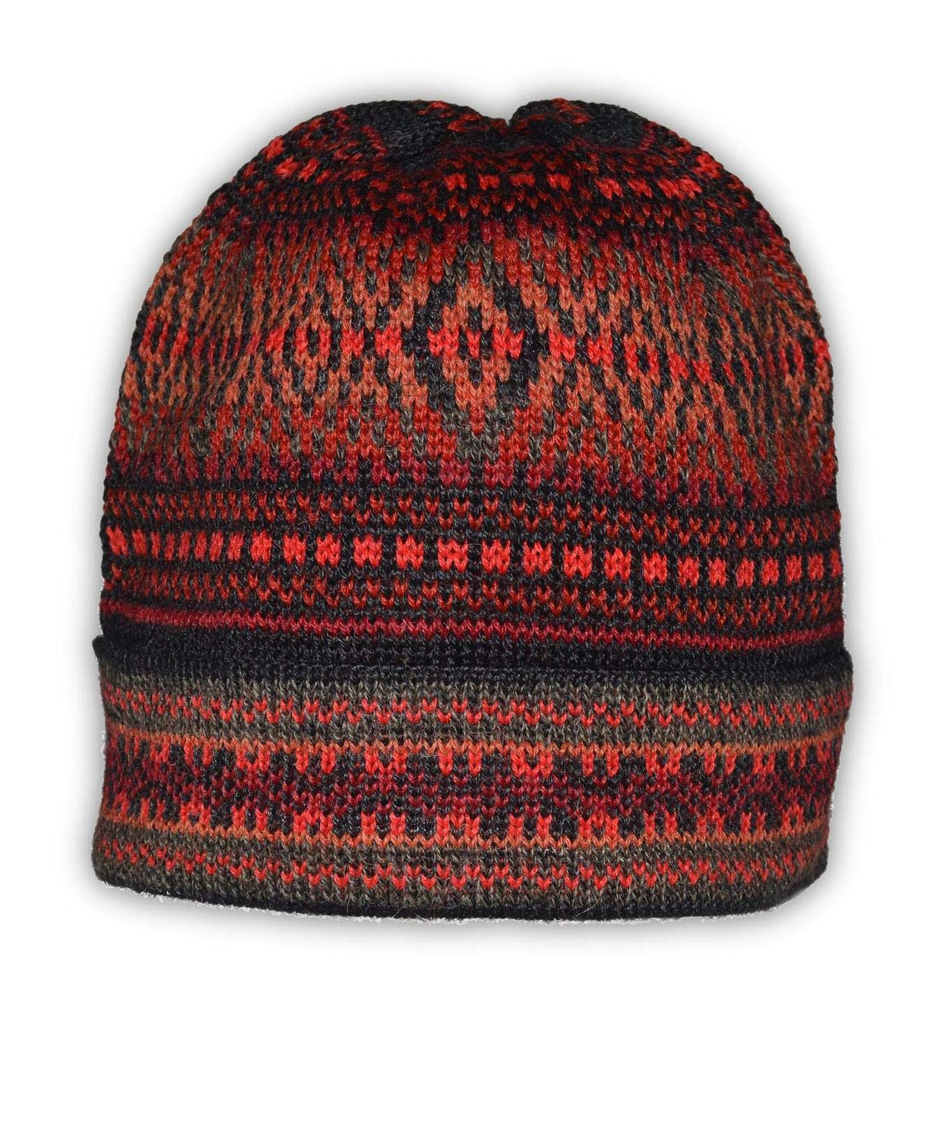 Invisible World Women's 100% Alpaca Wool Hat Knit Beanie Winter Montreal Red Md