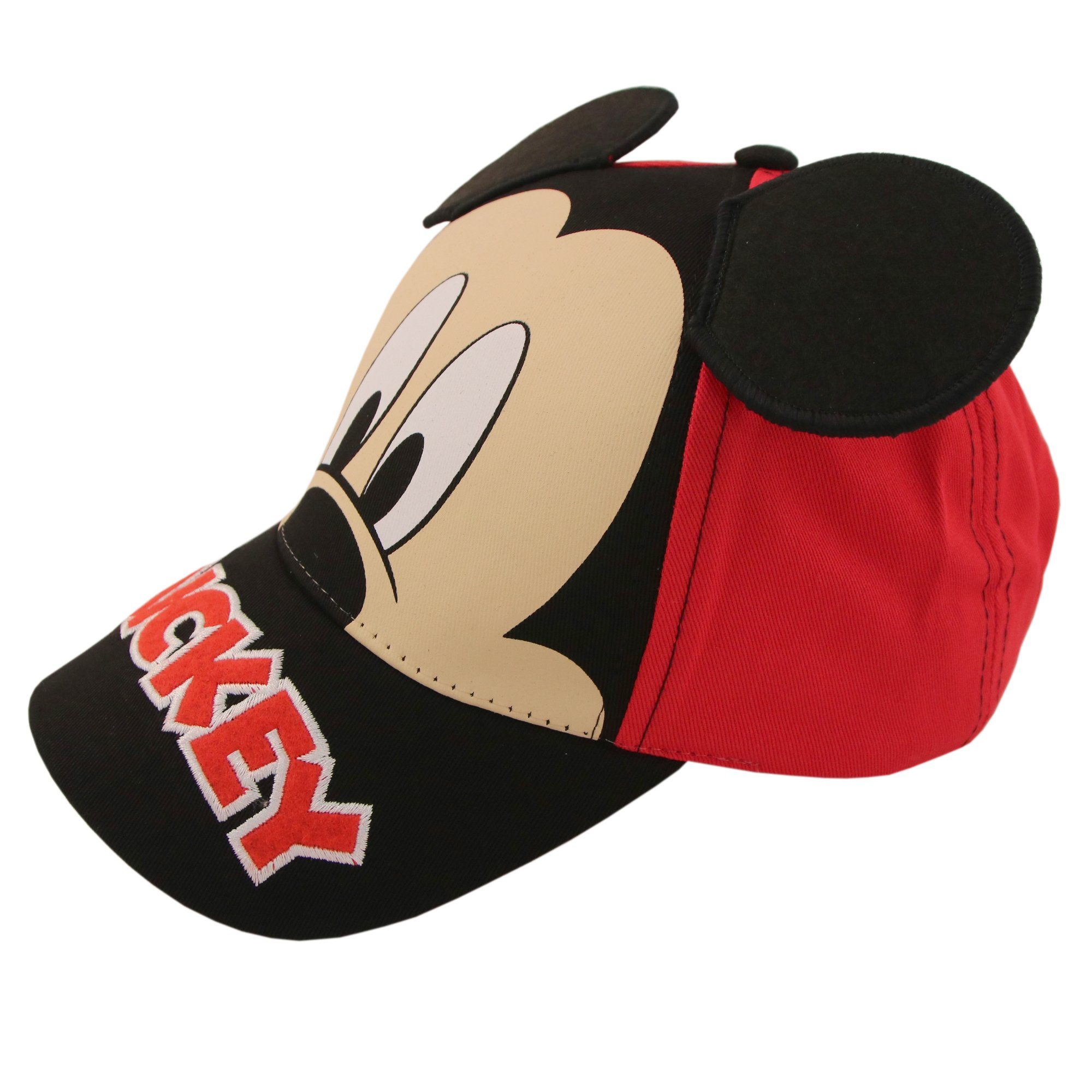 Disney Little Boys Mickey Mouse Character Cotton Baseball Cap, Red/Black, Age 2-7 (Little Boys - Age 4-7 – 53CM)