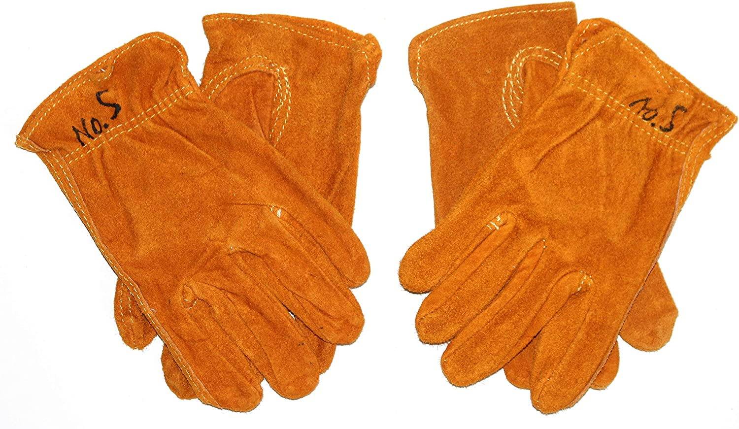 GnarPack No.5 Kids and Children Golden Suede Cowhide Leather Work and Garden Gloves. Hand Protection for Boys and Girls. Approximate Age Fitting 3-6 yrs (2)