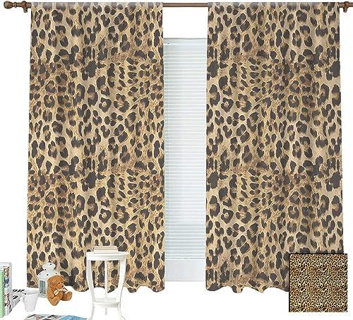 Editors' Choice: ZXAWT Brown Leopard Print Animal Skin Digital Printed Wild African Safari Curtains Pocket top Curtain Thermal Insulated Curtain