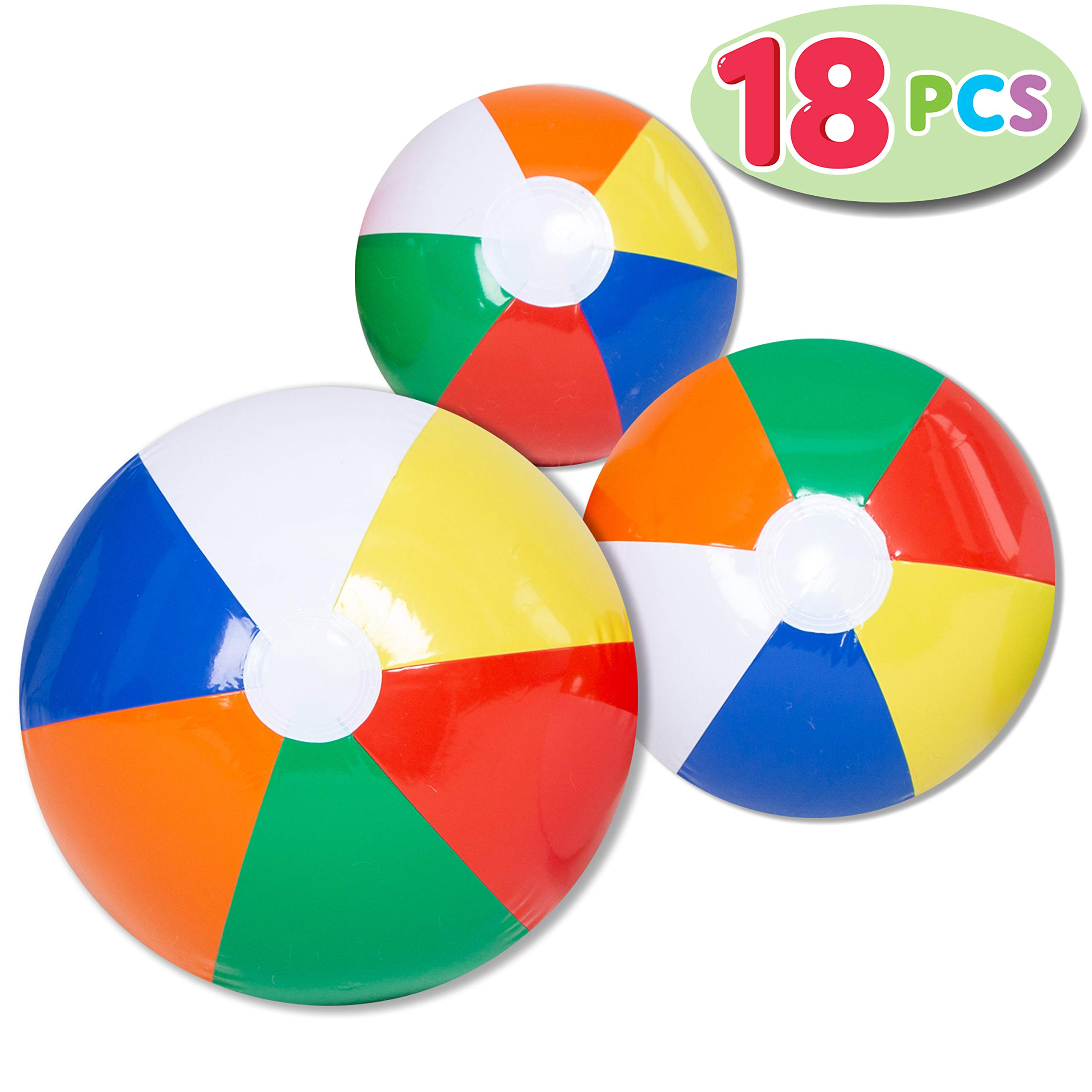 JOYIN Rainbow Beach Balls (18 Pack), Combo Set Include 18 Inflatable Beach Balls in 20'' (6), 16'' (6) and 12'' (6) by JOYIN