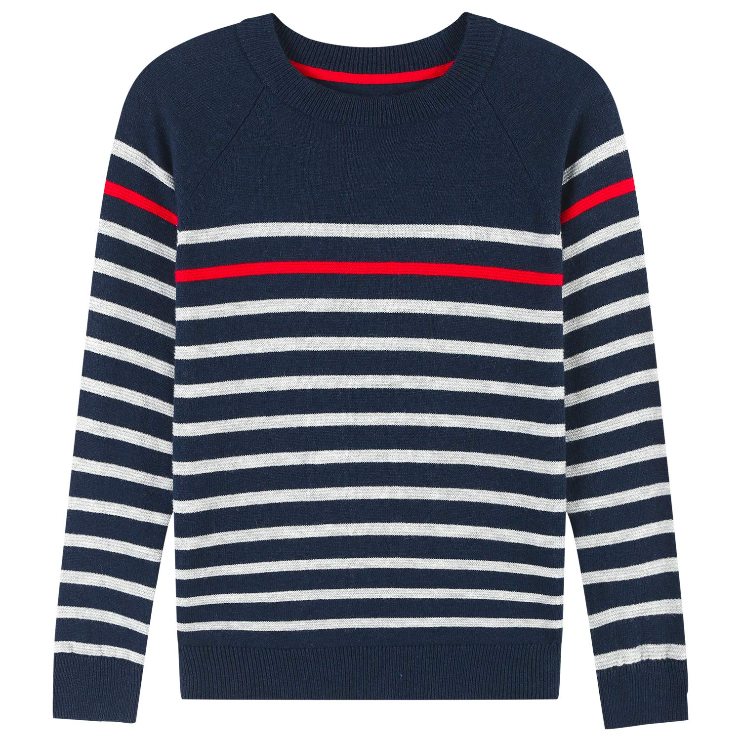 Adory Sweety Tops Sweater for Kids Baby Boy Toddler Soft &Cute Crew Neck Stripe Long Sleeve Pullover(Navy, 6Y)
