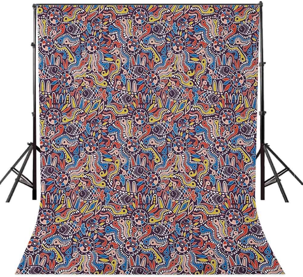 7x10 FT Vinyl Photography Backdrop,Tribal Mosaic Style Folk Primitive Historical Nature with Snakes Fishes Boho Gypsies Background for Baby Shower Bridal Wedding Studio Photography Pictures