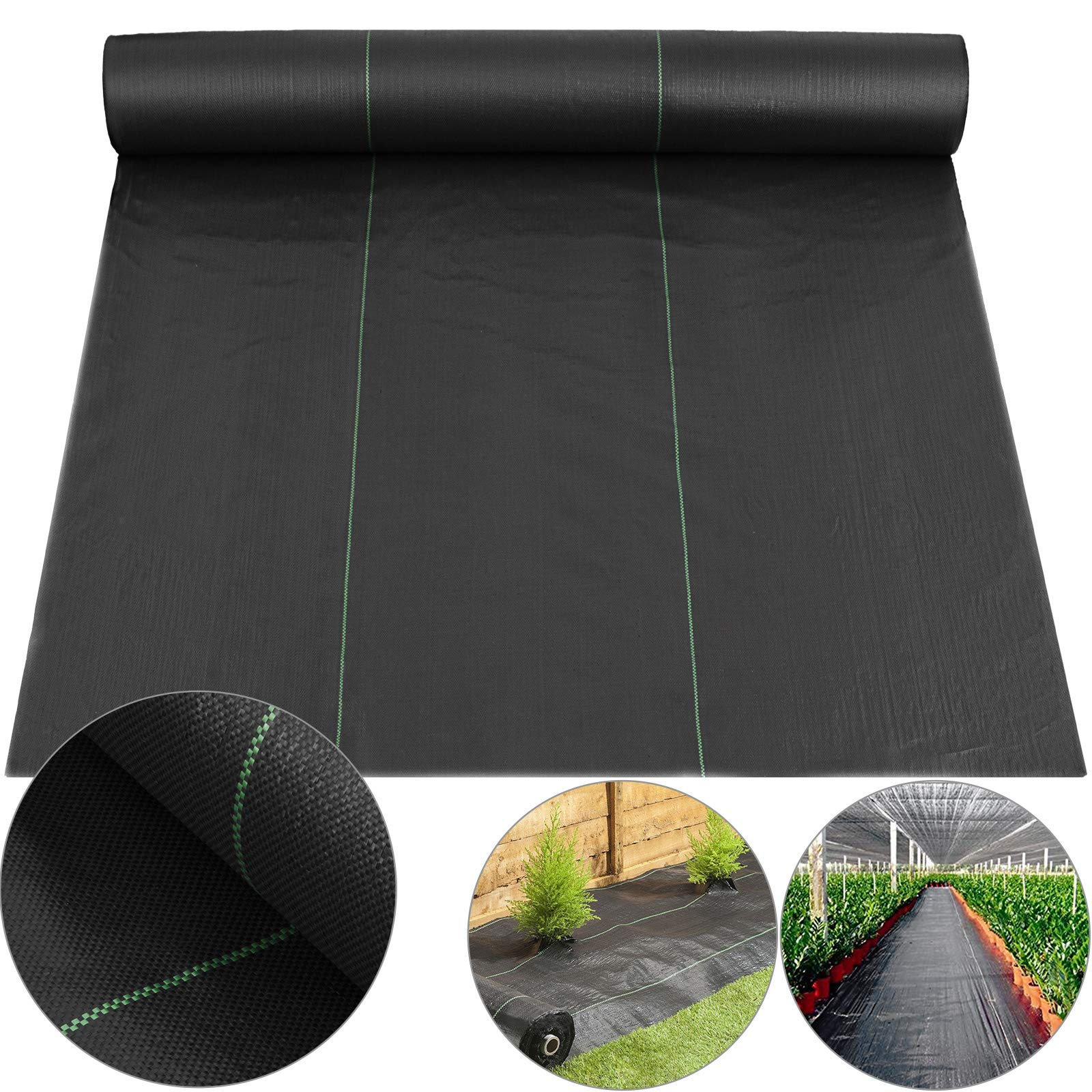 Happybuy Landscape Fabric 6.5ft x 300ft 3oz Garden Weed Barrier Heavy Duty Polypropylene Black Ground Cover Weed Barrier for Soil Erosion Control UV Stabilized and Weed Reduce