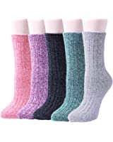 5 Pairs of Thick Knit Warm Casual Crew Winter Socks for Women