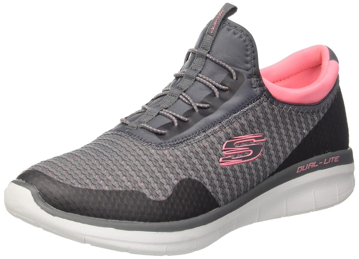 Skechers Women's Synergy 2.0-Mirror Image Fashion Sneaker B076FJ1J7G 8 B(M) US|Charcoal/ Coral