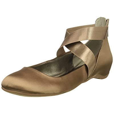 Kenneth Cole REACTION Women's Pro-time Ballet Flat with Elastic Ankle Strap, Back Zip-Satin | Flats