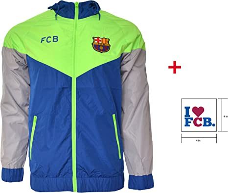 Fc Barcelona Jacket Windbreaker Official License Soccer Football Sticker Navy M Amazon Co Uk Sports Outdoors