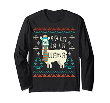Llama Christmas Sweater.Fa La La La Llama Christmas Sweater Style Long Sleeve Shirt