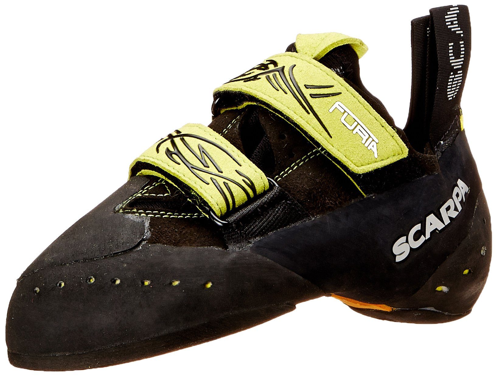 Scarpa Furia Climbing Shoe, Black/Lime, 41 EU/8 M US