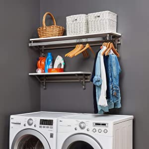 "Arrange A Space Heavy Duty Organizer with 60"" Top and 32"" Lower Kit. Laundry Storage, White"