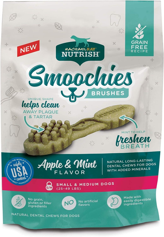 Rachael Ray Nutrish Smoochies Brushes Natural Long Lasting Dog Dental Chews, Apple & Mint, Small/Medium Size, 26 Treats, Grain Free