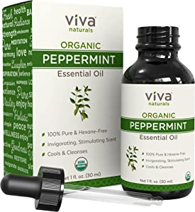 Viva Naturals Organic Peppermint Essential Oil 1 oz - Natural Peppermint Oil for Diffuser, Hair and Body Blends