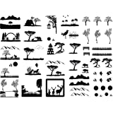 Tropical Beach 7//8 Black 17CC873 Fused Glass Decals