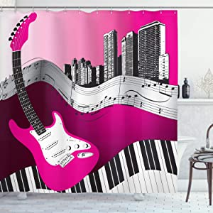 "Ambesonne Music Shower Curtain, Bass Guitar Keyboard Urban Rock Backdrop Rhythm of City Illustration, Cloth Fabric Bathroom Decor Set with Hooks, 70"" Long, Hot Pink Pale Grey Black"