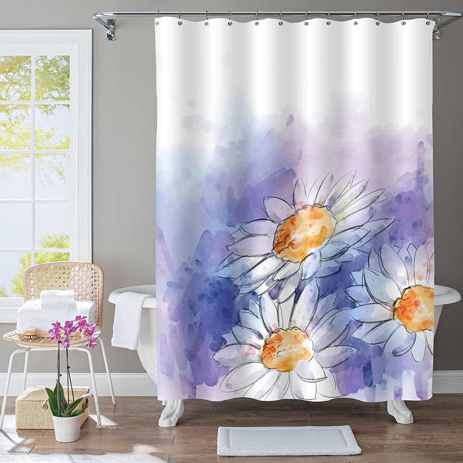 Amazon.com: Spring Flower Bathroom Decor Blooming Daisy Shower ...