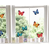 Set of 8 Large Beautiful Colourful Butterflies - Static Cling Window Stickers - Home Decorations by Stickers4