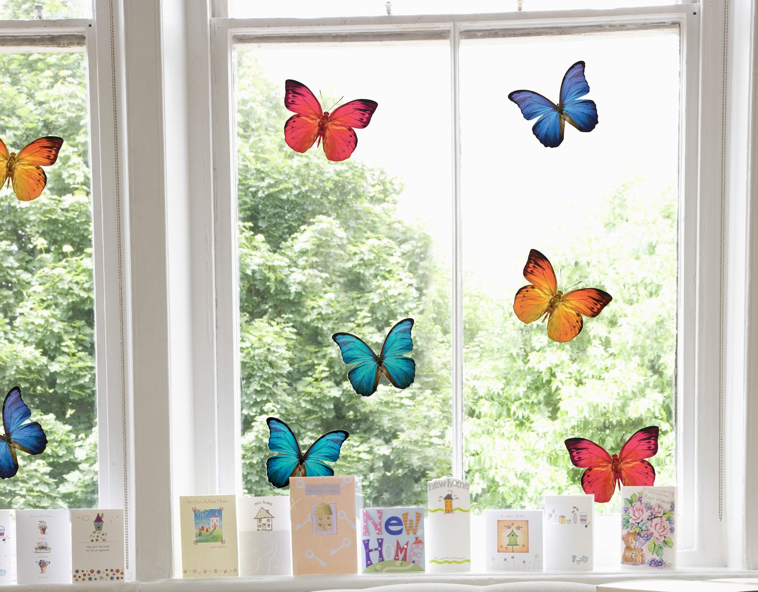 Set of 8 Large Beautiful Colourful Butterflies - Static Cling Window Stickers for your home Stickers4