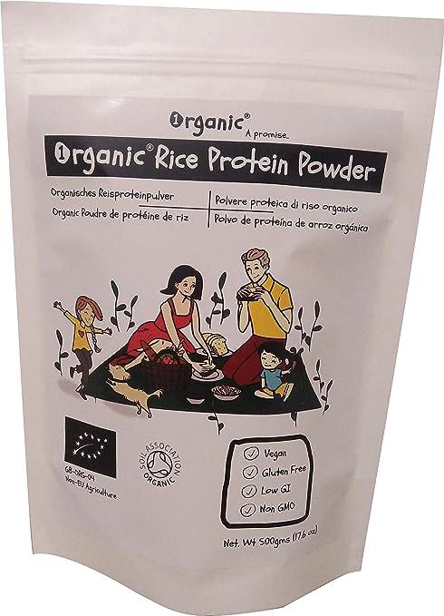 Polvo de proteína de arroz integral/Rice Protein, 80% de proteína, Certificado 100% ORGÁNICO, Puro, Natural, 500g