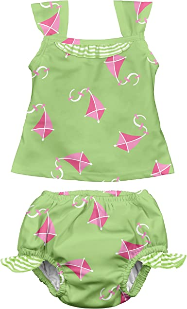 by green sprouts Girls Rashguard Set with Built-in Absorbent Swim Diaper i play