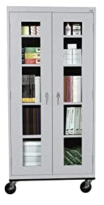 Sandusky Lee TA4V361872-MG Elite Series Transport Mobile Clear View Storage Cabinet, Multi Granite