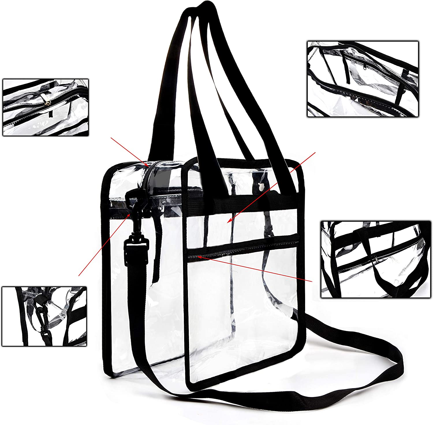 Youngever Clear Bag 12 X 12 X 6, Stadium Approved, Clear Tote Bag, Heavy Duty, Shoulder Straps and Zippered Top and Inside