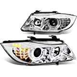BMW E90 3-Series Pair of 3D Crystal Halo Projector Chrome Housing Amber LED Corner Headlights