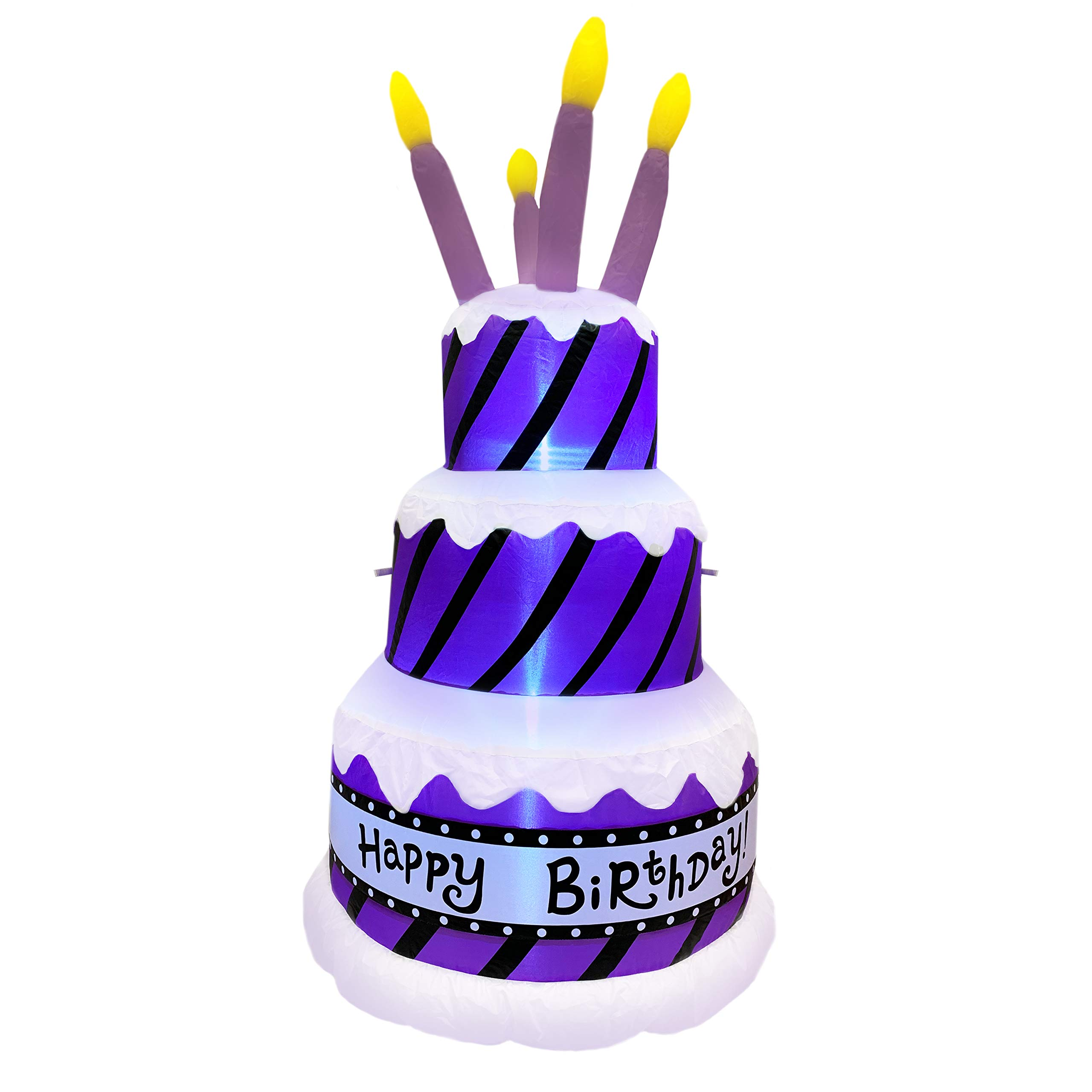 Jumbo Inflatable Happy Birthday Cake with Candles   Extra Large Birthday Party Decoration Lights Up and Inflates in Moments   For Indoors or Outdoors (Tie Down and Stakes Included for Outdoor Use)