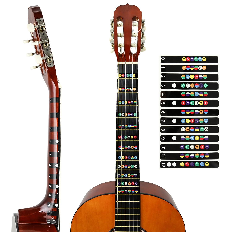 juconiromusic Guitarra Notas de pegatinas para el diapasón Incluye S de portatil para principiantes y expertos, Negro: Amazon.es: Instrumentos musicales