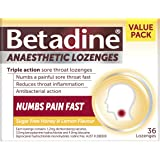 Betadine Anaesthetic Lozenges - Triple Action Sore Throat Lozenges - Numbs a Painful Sore Throat Fast, Honey & Lemon, 36 Pack