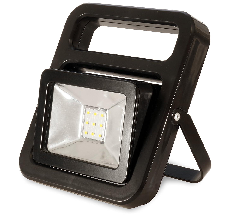 FeinTech LAL00110 Arbeits-Leuchte Akku-Baustrahler LED-Lampe kabellos USB 10 W 700 Lm IP54, Schwarz