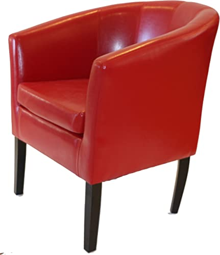 Armen Linon Red Sofa Arm Club Chairs Bicast Leather Finish Home Life