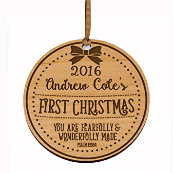 Amazon Com Personalized Baby S First Christmas Ornament New Parent Gift Ideas For Newborn Boys And Girls Custom Engraved Wooden Ornament For Mom Dad And Grandparents You Are Fearfully Wonderfully Made